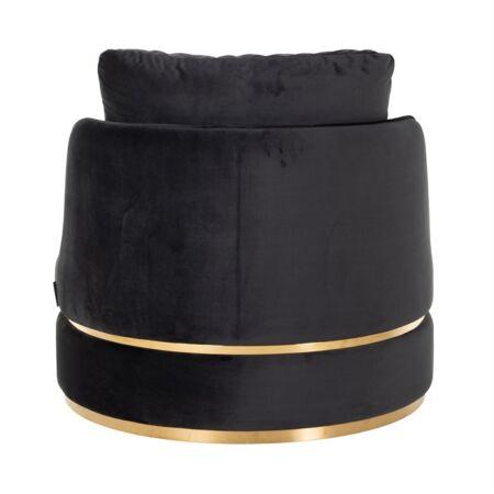 Kylie fekete bársony fotel - arany lábbal - 84 cm