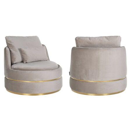 Kylie világos khaki bársony fotel - arany lábbal - 84 cm
