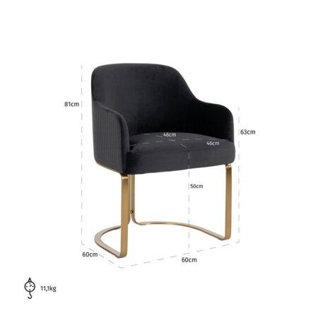 Hadley fekete bársony fotelszék arany lábakkal - 81 cm