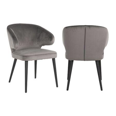 Indigo sötétszürke bársony fotelszék fekete asztallábakkal - 81 cm