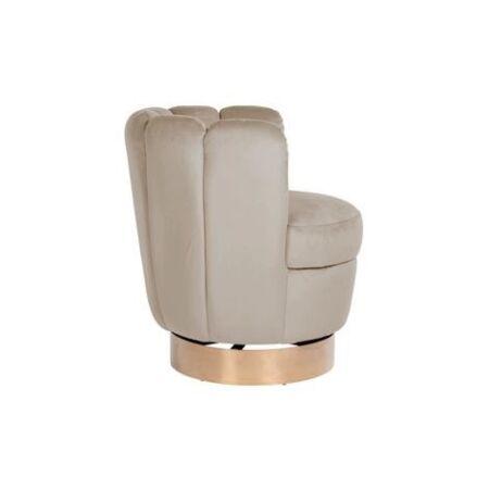 Calista világos khaki bársony fotel arany lábbal - 74 cm