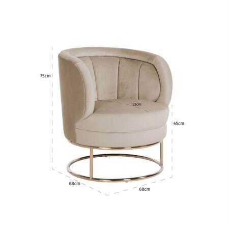 Felicia fekete bársony fotel arany lábbal - 75 cm