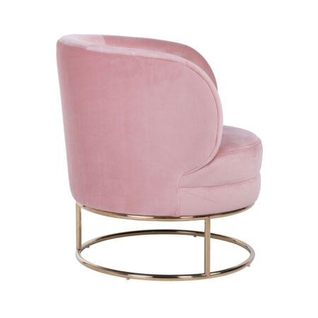 Felicia rózsaszín bársony fotel arany lábbal - 75 cm