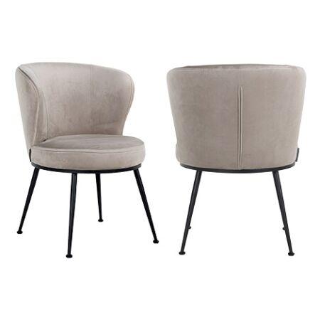 Meadow világos khaki bársony fotelszék fekete lábbal - 82 cm
