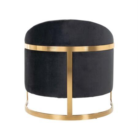 Melody fekete bársony fotelszék arany lábbal - 77 cm