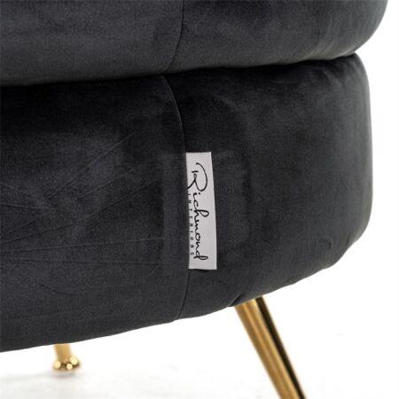 Amelia puff arany lábakkal - antracit szín - 61 cm