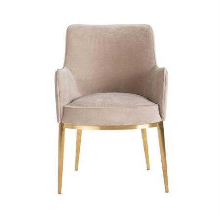Breeze világos khaki bársony fotelszék arany lábbakkal - 86 cm