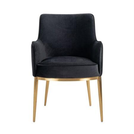 Breeze fekete bársony fotelszék arany lábbakkal - 86 cm