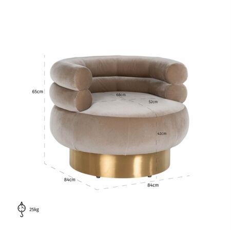 Fayah homokszínű forgatható fotel - arany lábbal - 84 cm