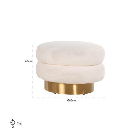Faya puff - fehér, csiszolt arany - 60 cm