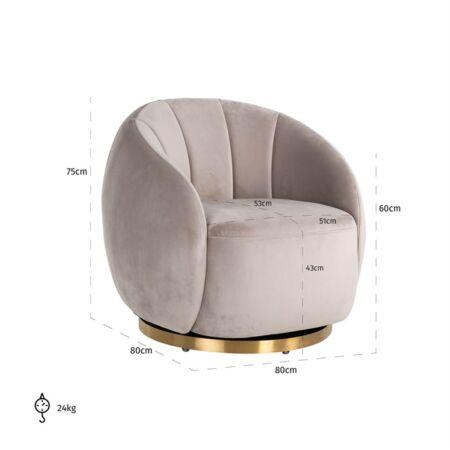 Jago világos khaki forgatható fotel - arany lábbal - 84 cm