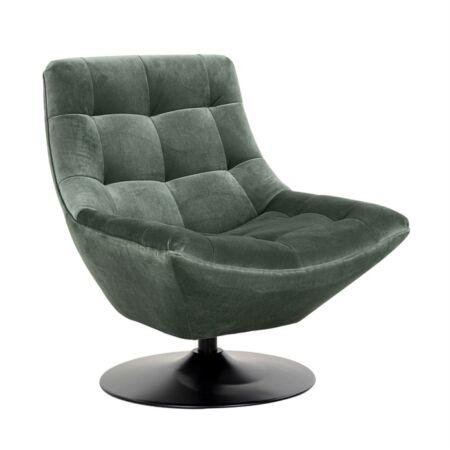 Richelle zöld bársony forgatható fotel - fekete lábbal - 84 cm