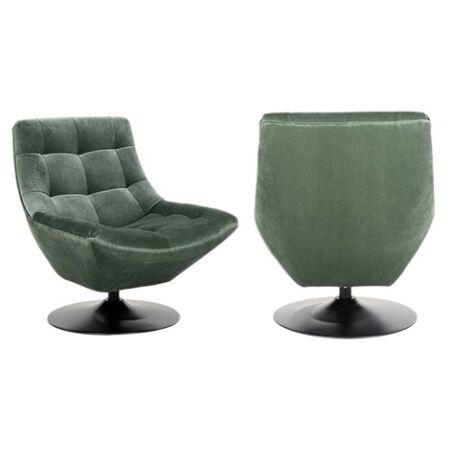 Richelle zöld bársony fotel - fekete lábbal - 84 cm