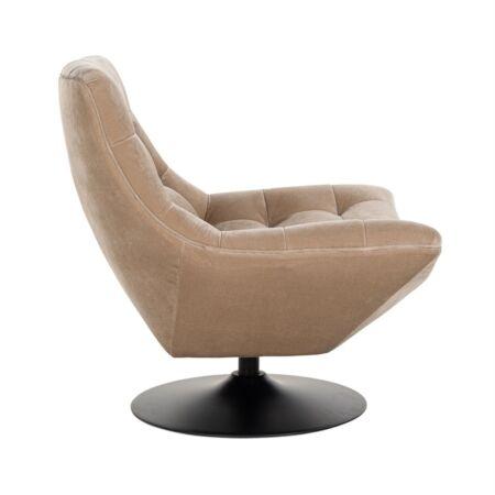 Richelle homokszínű forgatható bársony fotel - fekete lábbal - 84 cm