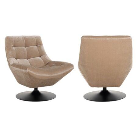 Richelle homokszínű bársony fotel - fekete lábbal - 84 cm