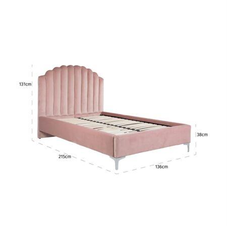 Belmond rózsaszín bársony ágy ezüst lábakkal - 120x200 cm