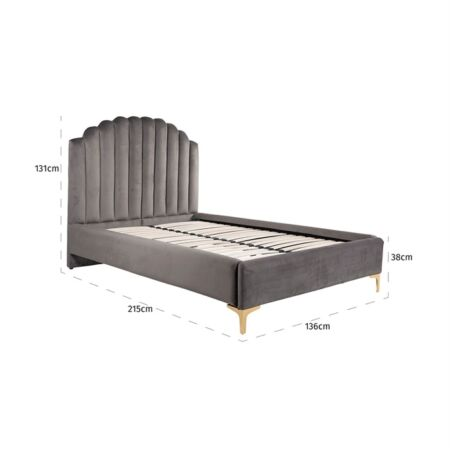 Belmond sötétszürke bársony ágy ezüst lábakkal - 120x200 cm