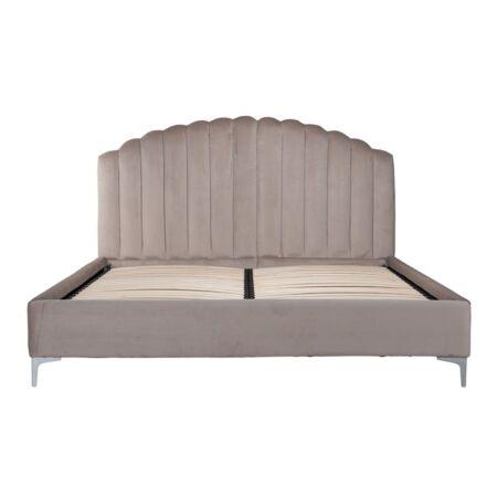 Belmond világos khaki bársony ágy ezüst lábakkal - 180x200 cm