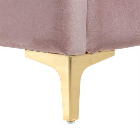 Belmond rózsaszín bársony ágy ezüst lábakkal - 180x200 cm
