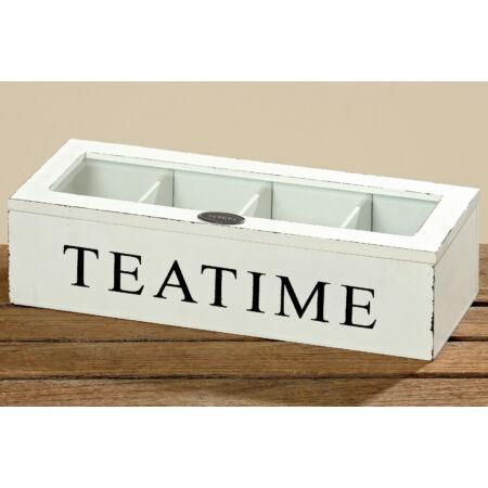 Fa teatartó doboz - fehér