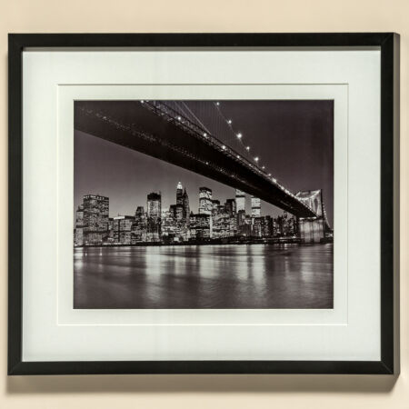 Falikép New York - Éjszakai város híddal