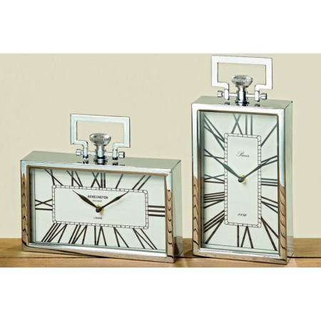 DESIGN asztali óra - fekvő - ezüst