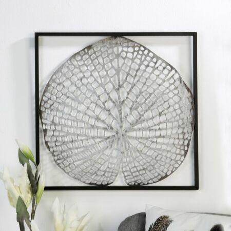 Levél fali dekoráció ezüst keretben