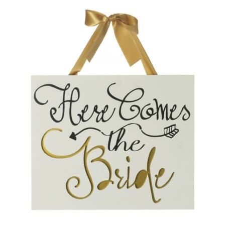 """Esküvői Dísz """" Here Comes the Bride """" Tábla"""