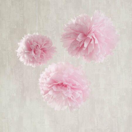 It's a Girl! Dekorációs pom-pom  Fehér- Rózsaszín  színben