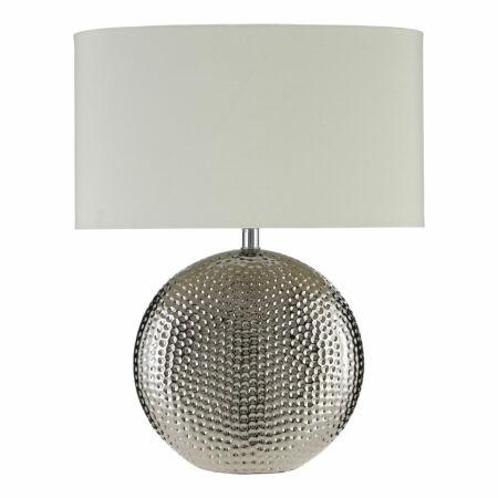 Ezüst asztali lámpa Fehér búrával