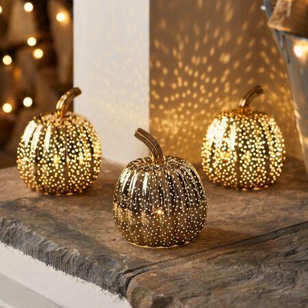 Mini arany üveg Halloween töklámpás LED világítással - 3db