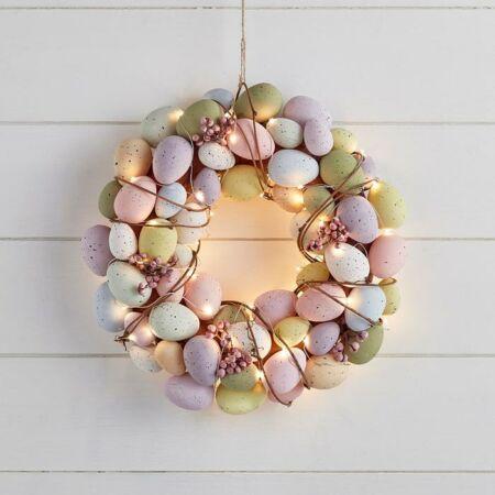 Húsvéti tojásos ajtódísz LED világítással - 33 cm