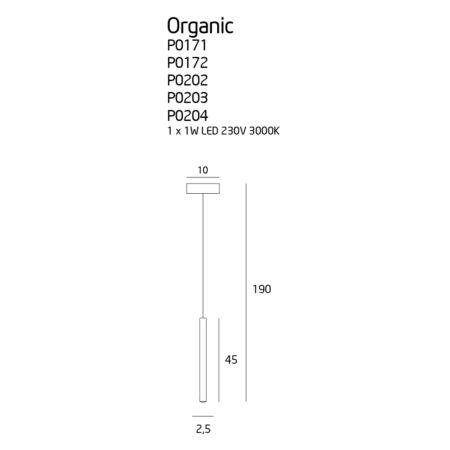 ORGANIC ONE függesztett lámpa - méretek