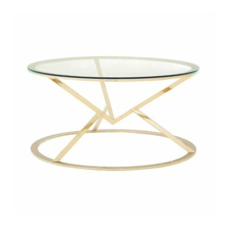 Rella Round dohányzóasztal - arany, üveg