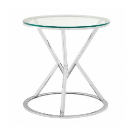 Rella Round konzolasztal - ezüst, üveg