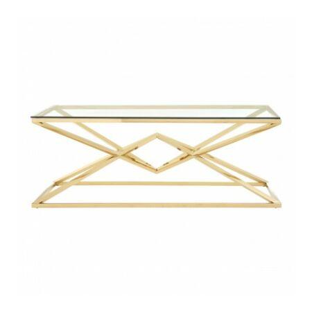 Rella Diamond dohányzóasztal - arany, üveg