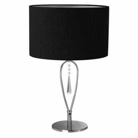 Fekete asztali lámpa kristályfüggővel
