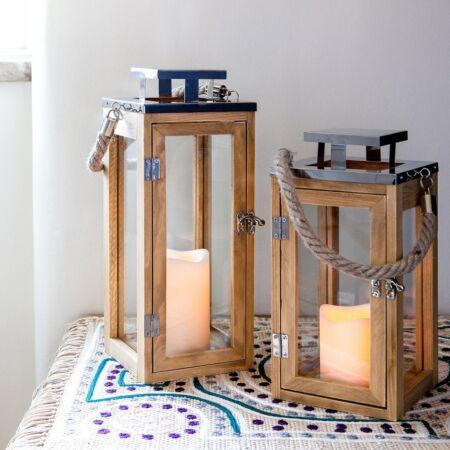 Design Fa-króm Viharlámpa LED gyertyával  NAGY
