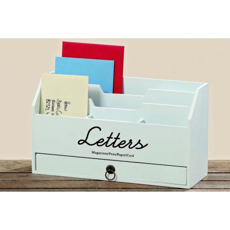 Fa levéltartó doboz - fehér
