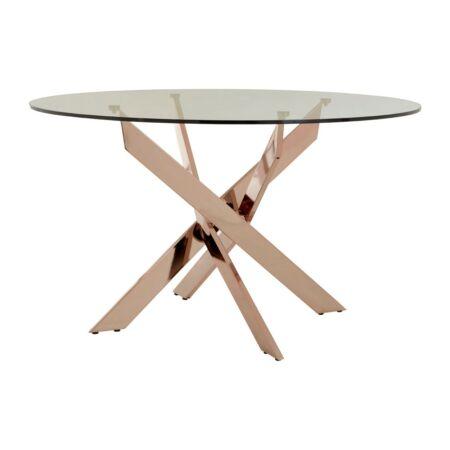 Allure rosé arany étkezőasztal üveg asztallappal - 130x75 cm