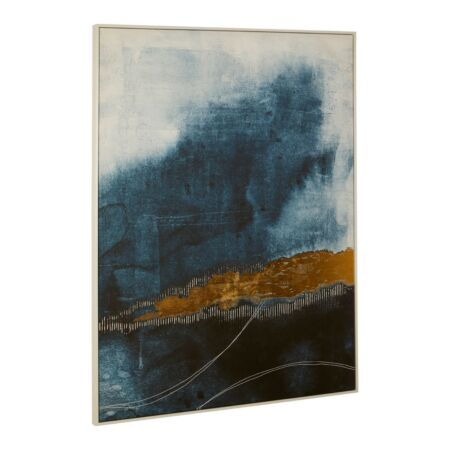 Blue and Gold Abstract festmény  - 143x103 cm