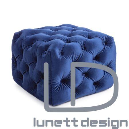 Eva bársony puff - kék