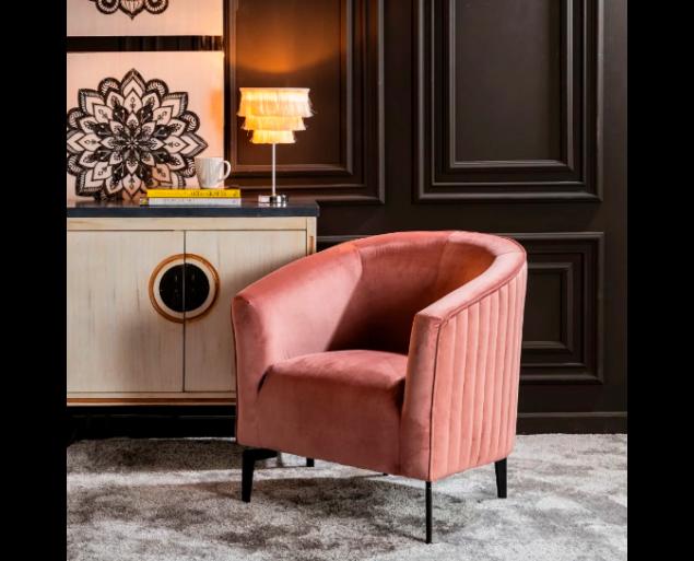 ROBERTO fotel bársony - rózsaszín