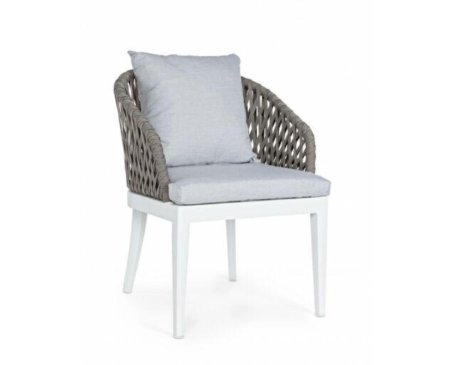 Amina kerti szék karfával,párnával - fehér