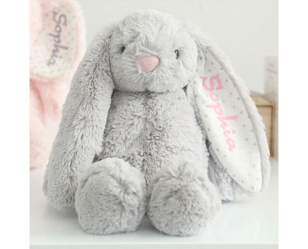 LUNETT BABY - névre szóló Chloé nyuszi - kicsi 31 cm - szürke