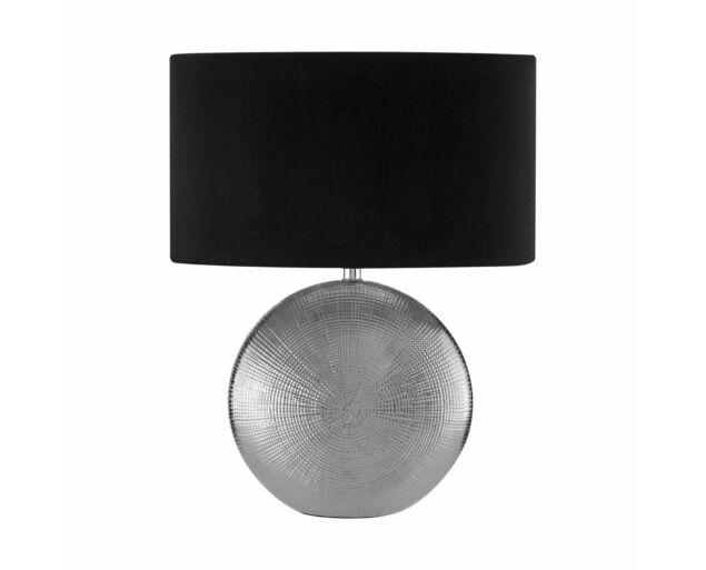 Ezüst asztali lámpa Fekete búrával