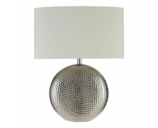 Ezüst asztali lámpa Fehér búrával- Készleten