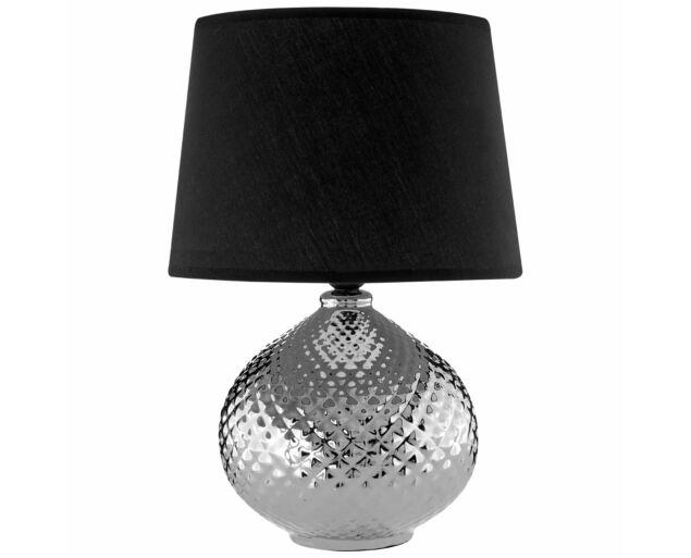 NewCroco Ezüst asztali lámpa - Fekete búrával