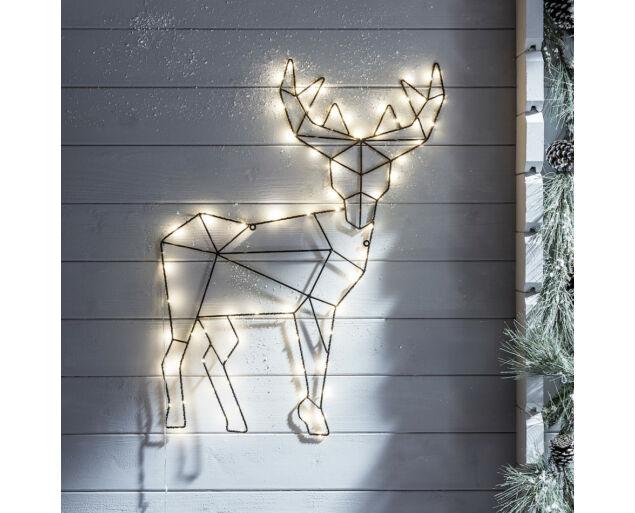Felakasztható Szarvas alakú dísz 70 db LED izzóval - 65x50 cm