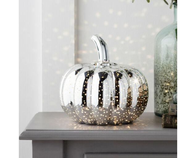 Halloween Tök - LED világítással - Ezüst színű